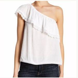 Jolt White Women's L One-Shoulder Lace Trim Blouse